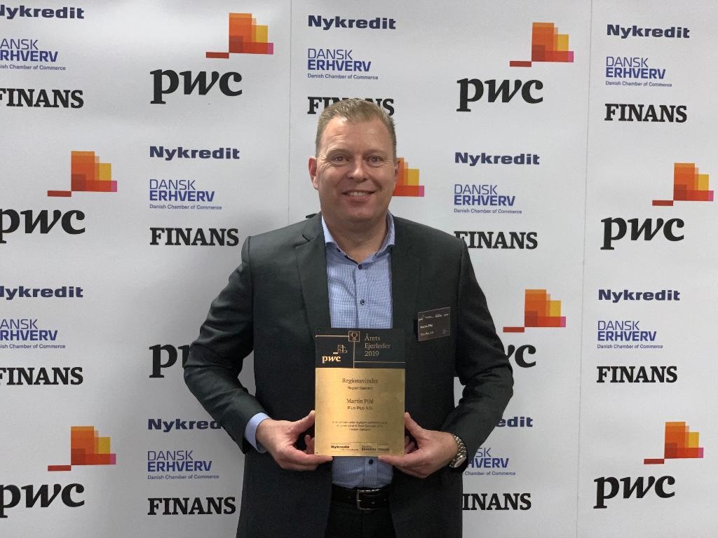 Martin Pihl fra Plus-Plus A/S vinder prisen som Årets Ejerleder 2019 i region Sjælland