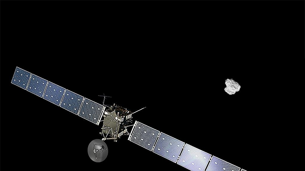 Rosetta og kometen. Grafik: ESA.