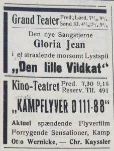 Biografannoncer fra Holbæk Amts Avis, 8. august 1940.