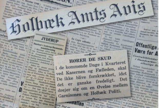 Holbæk Amts Avis 9. oktober 1940 skrev om bl.a. en øvelse og høstfest i jyderup. Collage: Rolf Larsen.