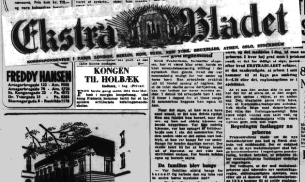 Ekstra Bladet med en notits om kongens besøg.