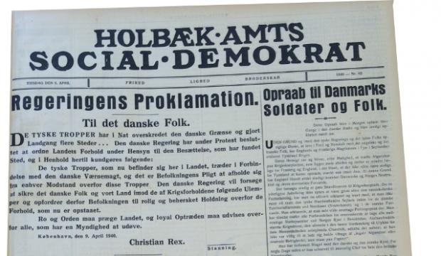 Holbæk Amts Socialdemokrat d. 9. april 1940.