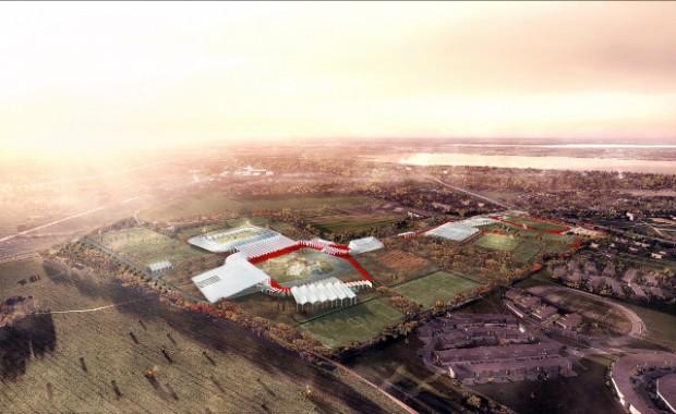 Efter voldsom debat endte onsdagens principafstemning om Holbæk Arena - her i det oprindelige projekt, der for længst er skåret ned - i stemmelighed. Dermed er intet afgjort hverken for eller i mod Arenaen. Grafik: COBE Arkitekter.