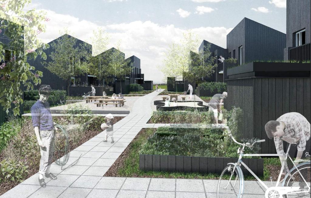 Sådan forestiller man sig, at der vil se ud i den nye bydel i Karise, som Daurehøj Erhvervsbyg A/S er ved at opføre. Grafik fra prospekt.
