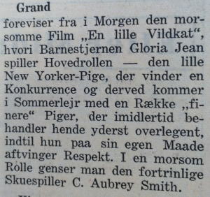 """Omtale af """"Den lille Vildkat"""" i Holbæk Amts Avis, 8. august 1940."""